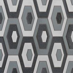 Walker Zanger Stardust Zenith in Twilight Walker Zanger, Small Tiles, Hexagon Tiles, Interior Decorating, Interior Design, Stone Mosaic, Damask, Interior Inspiration