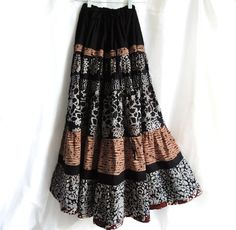 Long Bohemian Batik Patchwork Skirt Gypsy Skirt by 1000Colors  Love this