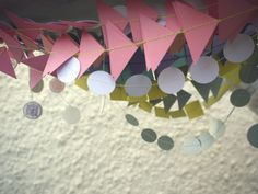 Garlands for a Christening…  Bespoke paper decorations available now shop link via website