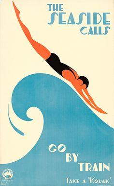 The Seaside Calls Vintage Travel Poster Print Art Deco Ocean Art Deco Illustration, Illustrations, Wc Retro, Retro Art, Art Deco Posters, Poster Prints, Art Deco Artwork, Seaside Art, Wave Art