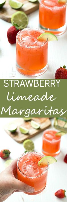 Strawberry Limeade Margaritas - Learn how to make the perfect strawberry limeade margaritas in no time! If you love classic margaritas or even frozen margaritas, you are going to love these! Sweet, tart,