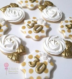 Kate Spade inspired birthday sugar cookies in all gold and white 30th Birthday Cake For Her, Gold Birthday Party, Golden Birthday, 30th Birthday Parties, Birthday Cookies, Birthday Ideas, Fun Cookies, Holiday Cookies, Sugar Cookies