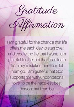 We are given so many gifts that we may take for granted. Each and every day we are given an opportunity to start fresh, start over, and move closer to the life we want. We are free to let go of our past and our mistakes any time we wish. Positive Self Affirmations, Positive Affirmations Quotes, Morning Affirmations, Affirmation Quotes, Positive Quotes, Healthy Affirmations, Attitude Of Gratitude, Gratitude Quotes, Gratitude Ideas