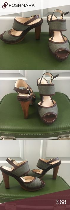 COACH Daria Olive Platform Sandal Heels Width: Medium Style: Platform Material: Denim upper and leather outsole Heel height/type: 4.75-inches Sole: Leather Worn a handful of times Coach Shoes Heels