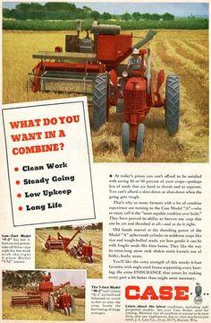 1949 Case Vac Model A Farm Tractor Magazine Ad with F 2 M 2 Combine   eBay