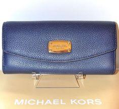 519765a5238d MICHAEL KORS Jet Set Leather Handbag Purse Wallet Slim Flap Navy Blue Gold  NWT 887042733949