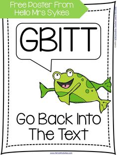 "Reading Comprehension Poster ~ Remind your students to ""GBITT"" (go back into the text!) My kiddos need reminders to go back into the text for evidence to support their reasoning. Here's a poster I created to remind them to ""GBITT. Reading Comprehension Posters, Reading Strategies, Comprehension Strategies, Teaching Reading, Guided Reading, Close Reading, Free Reading, Too Cool For School, School Stuff"