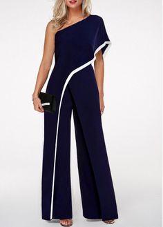 One Shoulder Navy Blue Contrast Trim Jumpsuit One Shoulder Jumpsuit with contrast stripes in navy blue Blue Jumpsuits, Jumpsuits For Women, Elegante Jumpsuits, Embellished Jumpsuit, One Shoulder Jumpsuit, Mode Outfits, Stylish Outfits, Fashion Dresses, Fashion Clothes
