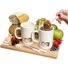 Evelots Set of 2 Classic Personal Fondue Mugs - Chocolate & Cheese - Black,White