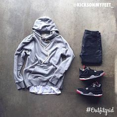 Today's top #outfitgrid is by @kicksonmyfeet_. ▫️#FOG #Hoodie ▫️#JohnElliottCo #Tee ▫️#NudieJeans ▫️#JordanIV #Bred