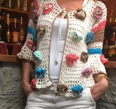 Casaca Pull Crochet, Hippie Crochet, Knitted Poncho, Crochet Cardigan, Knit Crochet, Gilet Kimono, Finger Crochet, Crochet Blanket Patterns, Crochet Designs