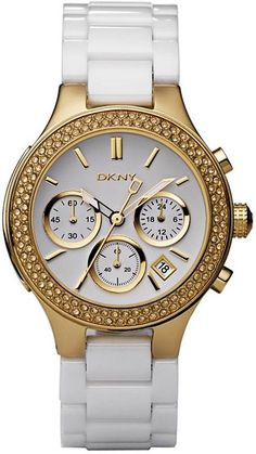 DKNY 4986 Women s Quartz Gold Tone Ceramic Chronograph Watch Brand Name  Watches 850abc9da9