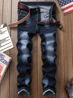 Zip Fly Straight Leg Whisker Design Jeans - PURPLISH BLUE 34