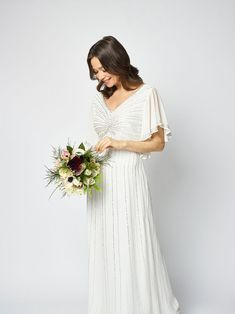 Choosing a wedding dress as an older bride can be a tricky task; you may think you need to go for something sensible or plain, but this is of course not the case Strappy Wedding Dress, Boat Neck Wedding Dress, Pink Wedding Dresses, Stunning Wedding Dresses, Wedding Dress Sleeves, Perfect Wedding Dress, Wedding Dress Styles, Wedding Gowns, Older Bride