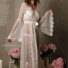 Lace-trimmed Tulle Bridal Robe F10Lingerie Nightdress by Alingerie