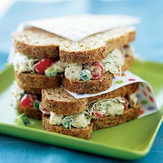 Chicken Salad Sandwiches With Pesto - can't wait to try this! Looks super yum ...... might substitute the bread...