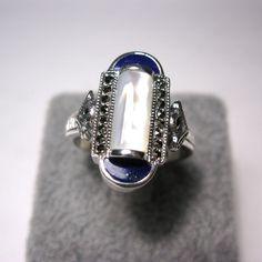 bague en argent avec nacre et lapis lazuli