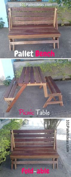 DIY Fold-able Pallet Bench – Picnic Table - Easy Pallet Ideas Diy Pallet Wall, Pallet Crafts, Diy Pallet Projects, Woodworking Projects, Pallet Ideas, Wooden Crafts, Woodworking Bench, Pallet Furniture Bench, Furniture Plans