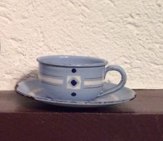 French Antique Graniteware Enamelware Blue and White Cup and Saucer, matches Teapot by FrenchAntiques4u on Etsy https://www.etsy.com/listing/269687767/french-antique-graniteware-enamelware