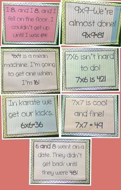 Have students come up with a rhyme for a fact they have trouble remembering Math Strategies, Math Resources, Math Activities, Math For Kids, Fun Math, Math Help, Multiplication Tricks, Math Fractions, Homeschool Math