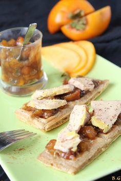 Foie gras sur gaufre au pain d'épices et chutney de kaki-Bouilles Gourmandes