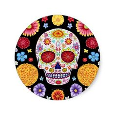 Day of the Dead Sticker Sugar Skull Art