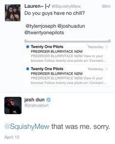 josh dun funny | twitter top tweets tj JD pumpkin Twenty One Pilots Tyler Joseph…