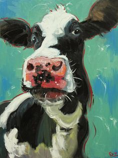 Cow painting 639 18x24 inch animal original oil painting by RozArt, $200.00