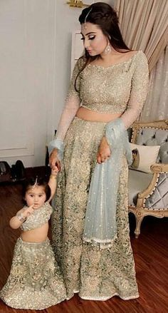 Mom and maid Mom Daughter Matching Outfits, Mommy Daughter Dresses, Mother Daughter Fashion, Pakistani Bridal Dresses, Indian Dresses, Pakistani Outfits, Red Lehenga, Lehenga Choli, Party Wear
