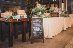 menu and florals on table!