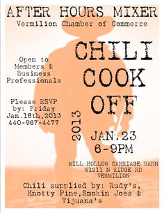 """Vermilion Chamber of Commerce """"After Hour Mixer Chili Cook-Off ..."""