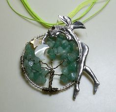 Aventurine The Forest Fairy Dancing With The Moon Tree of Life Necklace and Stand - Green on Etsy, $20.00