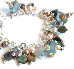 Charm Bracelet, lampwork glass, AprilsViolets
