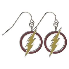 DC Comics Flash 316L Stainless Steel Earrings with Dangle Logo
