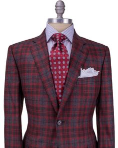 Belvest | Charcoal with Red Plaid Sportcoat | Apparel | Men's