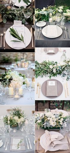 elegant greenery wedding table setting ideas