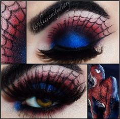 Superhero costumes, anyone? :) Cool colored variation of another eye make-up I previously pinned.