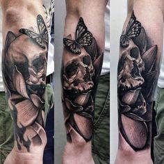 tatuaże 3d na przedramieniu czaszka