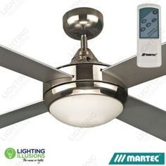 "Brushed Nickel Martec FourSeasons Primo 48"" Ceiling Fan with E27 Light And Premier Remote"