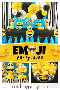 Check Out This Cool Emoji Birthday Party The Cupcakes Are Awesome See