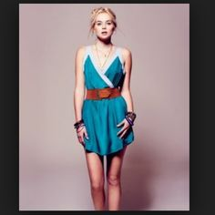 Rory Beca for F21 aqua dress. This does not come with a belt.  You can accessorize in different ways.  No longer available online.  Worn a few times. Rory Beca Dresses