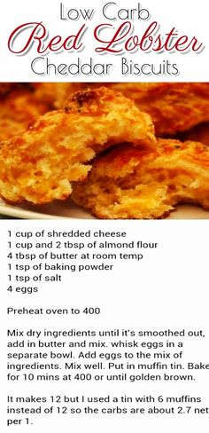 TRENDING NOW:  LOW CARB RECIPES - Low carb Red Lobster Cheddar Biscuits Recipe - Copy Cat Red Lobster recipes