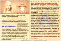 JHRH = Jschrisch = Queen of Wisdom (Old-Lyrian = Jschrjsch)  Knowledge and Wisdom   (that is, JHRH = female = Queen of Wisdom) as well as regarding wisdom, may be formulated and explained as follows:   God with the Plejaren   With the Plejaren, the terms 'god' and 'goddess' have the meaning of a thought-up, fantastic, mythical being, who rules over human beings, ani-mals and plants or otherwise over any things, exercises might, or acts pro-tectively. However, such thought-up, mythical beings…