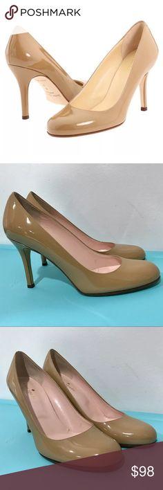741b4685df0f Kate Spade Karolina Brown Tan Nude Pumps Sz 7.5 M • Patent leather upper •  Round