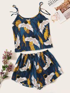 Crane Print Cami Pajama Set - Pajama Sets - Ideas of Pajama Sets Cute Sleepwear, Sleepwear Women, Pajamas Women, Cute Pajama Sets, Cute Pajamas, Ropa Interior Babydoll, Cotton Nighties, Cute Lazy Outfits, Pajama Outfits