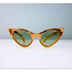 1960s cat eye sunglasses metallic gold two tone orange amber shades 50s Atomic 60s space age green lens