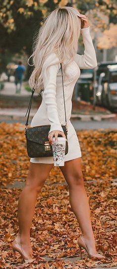 cool outfit idea / white sweater dress + bag + nude heels