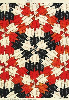 Penrose 'Ghosts' tessellation by MC Escher, Escher solves Roger Penrose's mathematical tiling problem. Recommended by Andrea Beaty, author of Artist Ted. Mc Escher, Escher Kunst, Escher Art, Escher Tessellations, Tessellation Patterns, Roger Penrose, Zentangle, Tesselations, Math Art