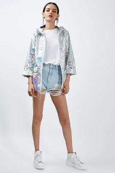 PETITE Holographic Rain Mac - Jackets & Coats - Clothing - Topshop Europe
