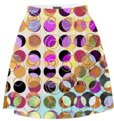 MELANGE OF CIRCLES IV - Summer Skirt 3 from Print All Over Me #art #pattern #circles #dots #colorful #printalloverme #ateliercolourvision #skirts #summerwear #women
